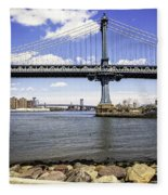 Two Bridges View - Manhattan Fleece Blanket