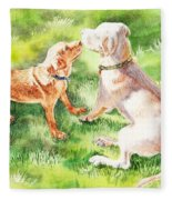 Two Brothers Labradors Fleece Blanket