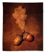Two Brown Acorns Fleece Blanket
