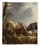 Two Bulls Defend Against A Cow Attacked By Wolves Fleece Blanket