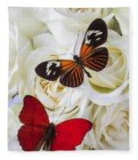 Two Butterflies On White Roses Fleece Blanket