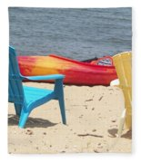 Two Chairs And A Boat Fleece Blanket