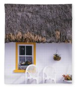 Two Chairs Outside A Cottage, County Fleece Blanket