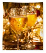Two Champagne Glasses Ready To Bring In The New Year Fleece Blanket