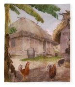Two Chickens Two Pigs And Huts Jamaica Fleece Blanket
