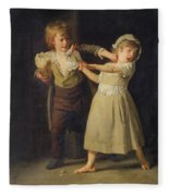 Two Children Fighting Over A Piece Of Bread Fleece Blanket