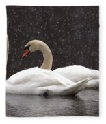 Two Christmas Swans A Swimming Fleece Blanket