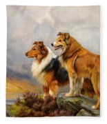 Two Collies Above A Lake Fleece Blanket