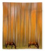 Two Colorado High Country Mystic Autumn Horses Fleece Blanket