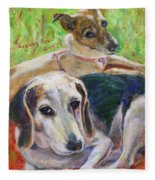 Two Dogs Fleece Blanket