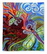 Two Dragonflies Fleece Blanket