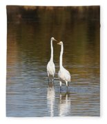 Two Egrets In The Pond Fleece Blanket