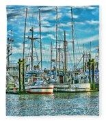 Two Fishing Boats Hdr Fleece Blanket