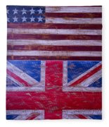 Two Flags American And British Fleece Blanket