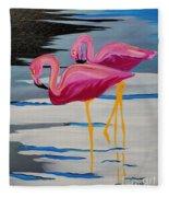 Two Flamingo's In Acrylic Fleece Blanket