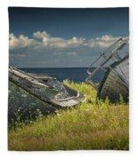 Two Forlorn Abandoned Boats On Prince Edward Island Fleece Blanket