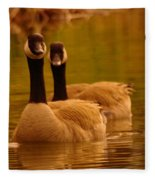 Two Geese In A Line Fleece Blanket