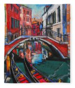 Two Gondolas In Venice Fleece Blanket