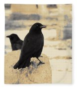 Two Graveyard Blackbirds Fleece Blanket