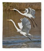 Two Greater Egrets  Fleece Blanket