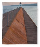 Two Harbors Mn Pier Light 6 Fleece Blanket