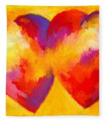 Two Hearts Beat As One Fleece Blanket