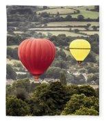 Two Hot Air Baloons Drifting Fleece Blanket