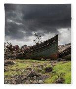 Two Large Boats Abandoned On The Shore Fleece Blanket