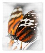 Two Large Tiger Butterflies Fleece Blanket