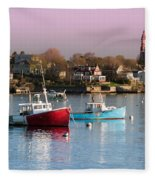 Two Lobster Boats On Marblehead Harbor With A Red Sky Fleece Blanket