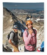 Two Male Hiker Stop To Look Fleece Blanket