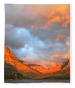 Sinopah Mountain And Two Medicine Lake Sunrise Glacier National Park Montana Fleece Blanket