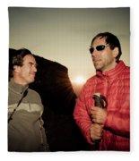 Two Men Share Stories As The Sun Sets Fleece Blanket