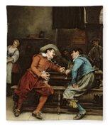 Two Men Talking In A Tavern Fleece Blanket