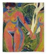 Two Nude Women In A Wood Fleece Blanket