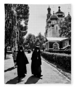 Two Nuns- Black And White - Novodevichy Convent - Russia Fleece Blanket