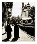 Two Nuns - Sepia - Novodevichy Convent - Russia Fleece Blanket