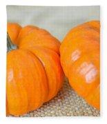 Two Orange Pumpkins Fleece Blanket