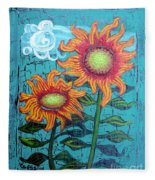 Two Orange Sunflowers Fleece Blanket