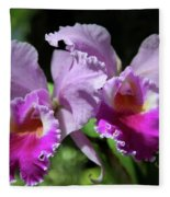 Two Orchids  Fleece Blanket