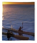 Two Paddlers In Sea Kayaks At Sunrise Fleece Blanket