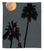 Two Palms And The Moon Fleece Blanket