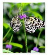 Two Paper Kite Or Rice Paper Or Large Tree Nymph Butterfly Also Known As Idea Leuconoe Fleece Blanket