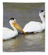 Two Pelicans Fleece Blanket