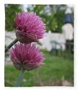 Two Pink Chives Fleece Blanket