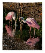 Two Pink Spoonbills Fleece Blanket