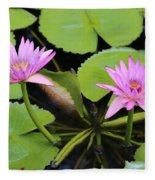 Two Pink Water Lilies Fleece Blanket