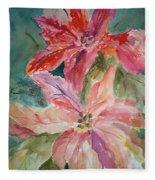 Two Poinsettias Fleece Blanket