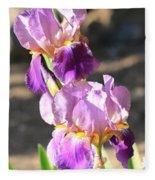 Two Purple Irises Fleece Blanket