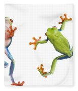 Two Red Eyed Tree Frogs Fleece Blanket